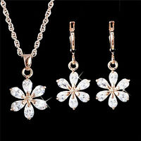 Gold Plated Jewelry Set Rhinestone Flower Pendant Necklace Earring Jewelry  WH