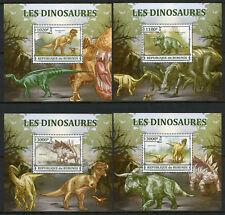 Burundi 2013 MNH Dinosaurs Tyrannosaurus Rex Stegosaurus 4x 1v Deluxe S/S Stamps