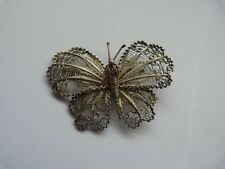 Argent Massif Filigrane Papillon Broche