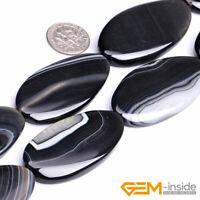 "Natural Black Stripe Agate Onyx Gemstone Oval Beads For Jewelry Making 15""Strand"