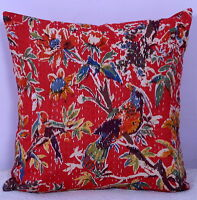 """16"""" KANTHA RED FLORAL EMBROIDERED PILLOW CUSHION COVER Throw Indian Ethnic Decor"""