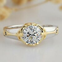 Two-Tone Solitaire Moissanite Engagement Ring 14K White Gold 1.50 CT Round Cut