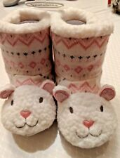 New Koala Baby Warm Furry Lamb Boots Pink & White Size 12-18 Months