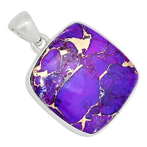 Copper Purple Turquoise 925 Sterling Silver Pendant Jewelry ALLP-4903