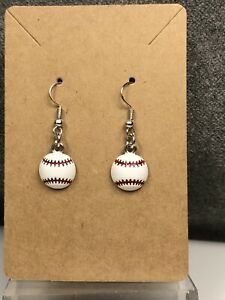 Earrings with Enamel Baseballs with Red Stitching  On Silver Tone Fishhook Wires