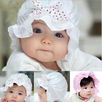 2-12 Mois Nouveau-Né Bébé Filles Chapeau Mignon Bonnet Beanie à Pois Motif Éte