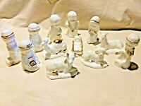 Beautiful 12 Piece Gold and White Nativity Set Christmas Holiday Decor Porcelain