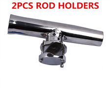 """2X Stainless Steel Fishing Rod Holder Adjustable Clamp-on 1-1/4"""" - 2"""" Rail Mount"""
