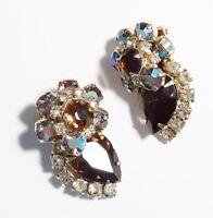 Vintage Juliana Aurora Borealis Amber Rhinestones Rosettes Chunky Clip Earrings