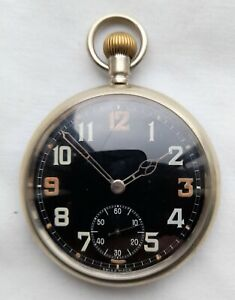 Excellent Black Dial Military GSTP Pocket Watch – Serviced and in GWO