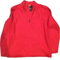 Hawke & Co Mens Fleece Pullover Shirt 1/4 Zip Sleepwear Long Sleeve Red Size M