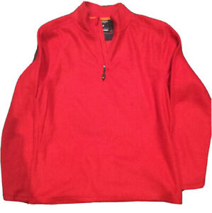 Hawke & Co Mens Fleece Pullover Shirt 1/4 Zip Casual Long Sleeve Red Size M
