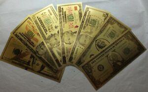 Lot of 7 Federal Reserve FRN $100 $50 $10  $5 $2 $1 Novelty Gold Foil Note LG608