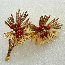 Vintage FLOWER DUO BROOCH Pin Faux Coral & Pearl Gold Tone Costume Jewelry