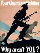 PROPAGANDA WAR WWI UK SOLDIER GUN BAYONET CHARGE FINE ART PRINT POSTER BB7110B