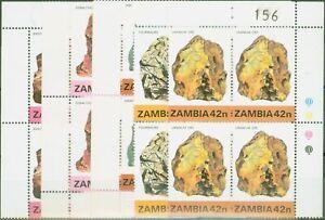 Zambia 1982 Minerals 1st Series set of 5 SG360-364 V.F MNH Corner Blocks of 4