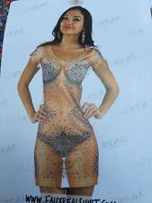BNWT Faux Real. Ladies Real Rhinestone Dress Funny Photorealistic Size M