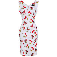 Hearts and Roses London White Red Cherry Retro Vintage 1950s Pencil Wiggle Dress