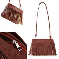 Women's Tassel Handbag Shoulder Crossbody Bag Tote Messenger Satchel Purse Brown