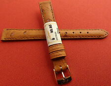 ZRC Made in France Tan GENUINE Ostrich 12mm Watch Band Gold Tone Buckle $95.95