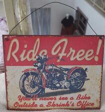 Nostalgie Blechschild Wandbild MOTORRAD RIDE FREE Retro-Stil 24x19cm Metall NEU