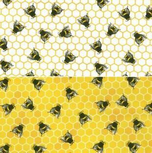 Bee Honeycomb Ivory & Honey 100% Cotton Poplin Fabric Sewing, Craft CP0837