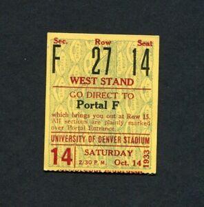 1933 University of Denver Pioneers College Football Ticket Stub