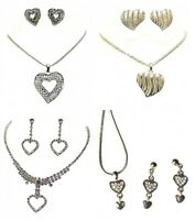 Silver Crystal Diamante Heart Shaped Pendant Necklace Earrings Jewellery Set UK