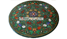 24'' Green Marble Coffee Table Top Semi Precious Marquetry Inlay Furniture Decor