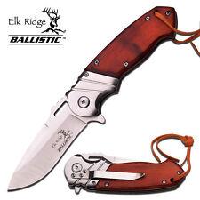"""Elk Ridge 8"""" Wood Hunting Spring Assisted Gentlemen Folding Pocket Knife NEW"""