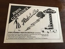 "1982 VINTAGE 8X5 PROMO PRINT B&W Ad FOR JOHN GUERNSEY NEW ALBUM ""ROCKETVILLE"""
