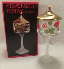 """L.E. Smith Glass Co Strawberry Festival 5-1/2"""" Oil Lamp Fruit Frosted USA"""