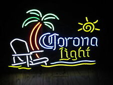 "New Corona Light Palm Tree Beach Chair Sun Neon Light Sign 20""x16"""