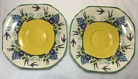 Pair of Vintage Wedgwood Hand Painted Swallow Pattern Saucers China England