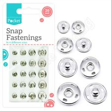 Silver Metal Press Studs Snap Fasteners Fastening Assorted Clothing Sewing Craft