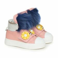 NWT NEW Fendi Girls pink leather fur high top sneakers boots 31 US 13 RT $600+