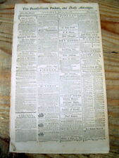 1788 newspaper Notice of VIRGINIA CONVENTION to RATIFIY the new US CONSTITUTION