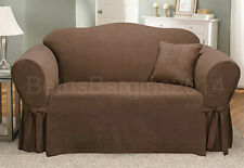 Sure Fit Soft Suede Loveseat Slipcover in Brown Box Cushion Seat Style