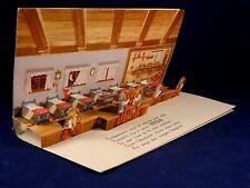 Ancienne carte livret animé pop-up publicitaire EPEDA Blanche Neige nains relief