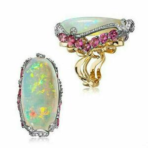 Fashion 18K Gold White Fire Opal Ring Women Wedding Proposal Jewelry Size 6