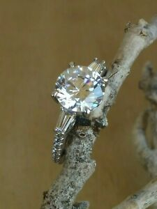 Jean Dousset Round And Baguette 9mm Absolute/CZ Ring Rhodium Plated Sterling 8