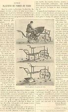 ARTICLE DE PRESSE PLANTEUSE DE POMMES DE TERRE BAJAC PAR GEORGES MATHIEU 1898