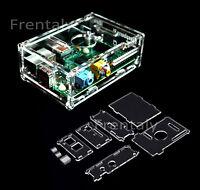 Raspberry PI Transparent Acrylic Case Enclosure Computer Box + Heat Sink Kit T7