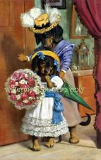 Antique Art~Cute Dressed Dachshunds ~NEW Lge Note Cards