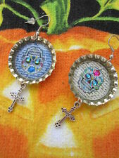 Day Of The Dead Sugar Skull With Dangle Charm Earrings