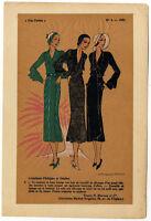 Très Parisien, Mode, handkolorierte gouachierte Lithographie von 1931.