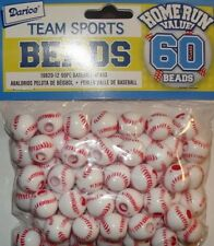 60 BASEBALL BEADS Plastic Sports Bead 12mm Kids Crafts Jewelry Necklace Earrings