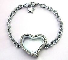 New 5pc heart locket floating locket bracelets wholesale living memory Locket