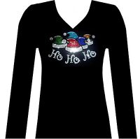 HO HO HO RHINESTONE  SANTAS CHRISTMAS HATS  LONG SLEEVE V-NECK T-SHIRT  BLACKS