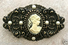 "Cameo Pin ant brass pearls Vintage feel handmade NEW 3"" x 1.75"""